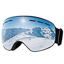 Ski Goggles,Patec Snowboard Skate Goggles,Over Glasses Ski Goggles for Men,Women & Youth Snowmobile Skiing Skating with Anti-fog Big Spherical Double Lens,100% UV400 Protection,Interchangeable Spherical Dual Lens,Upgraded Ventilation System -Grey