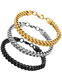 Stainless Steel Franco Chain Bracelet for Men Women 6mm Wide 8 Inches 3 Colors Black Gold Silver