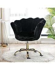 Wahson sammet hem kontor stol svängbar stol höjd justerbar armlös uppgiftsstol med guldbas, skrivbordsstol för sovrum/fåfänga (svart, FUR)