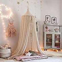 Nakital Mosquito Net Canopy, Dome Princess Bed Cotton Cloth Tents Childrens Room Decorate Tent Bedding For Baby Kids Reading Play Indoor Games House 240cm/94.5 inch (Khaki)