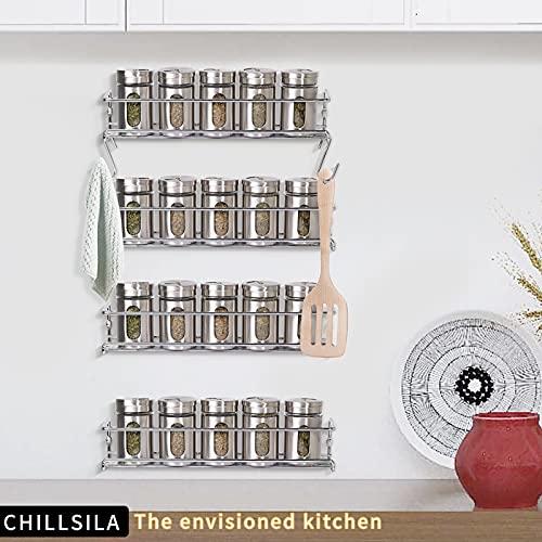 CHILLSILA Gewürzregal/Lagerregal (Metallische Gewürzregal in der Küche), 4 Separate Layers, hängt Sich an der Wand oder an der Schranktür, passend auch auf Badezimmer, handgefertigte Räume [4 Etagen]