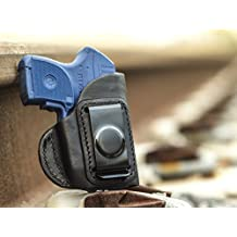 OUTBAGS USA LS4LCPX Full Grain Heavy Leather IWB Conceal Carry Gun Holster for Ruger LCP 380 with Crimson Trace Laser. Handcrafted in USA.