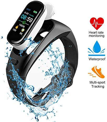 Tenlso Blood Pressure Monitor, 2 in 1 Fitness Tracker Smart Watch & 5.0 Truly Wireless Earbuds with Waterproof Wristband, Sleep Monitor, LED Color Screen, Pedometer Watch for Men Women