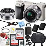 Sony Alpha a6000 Mirrorless Digital Camera 24.3MP SLR (Silver) w/ 16-50mm Lens ILCE-6000L/S with Extra Battery Case 2x 32GB Memory Deluxe Pro Bundle