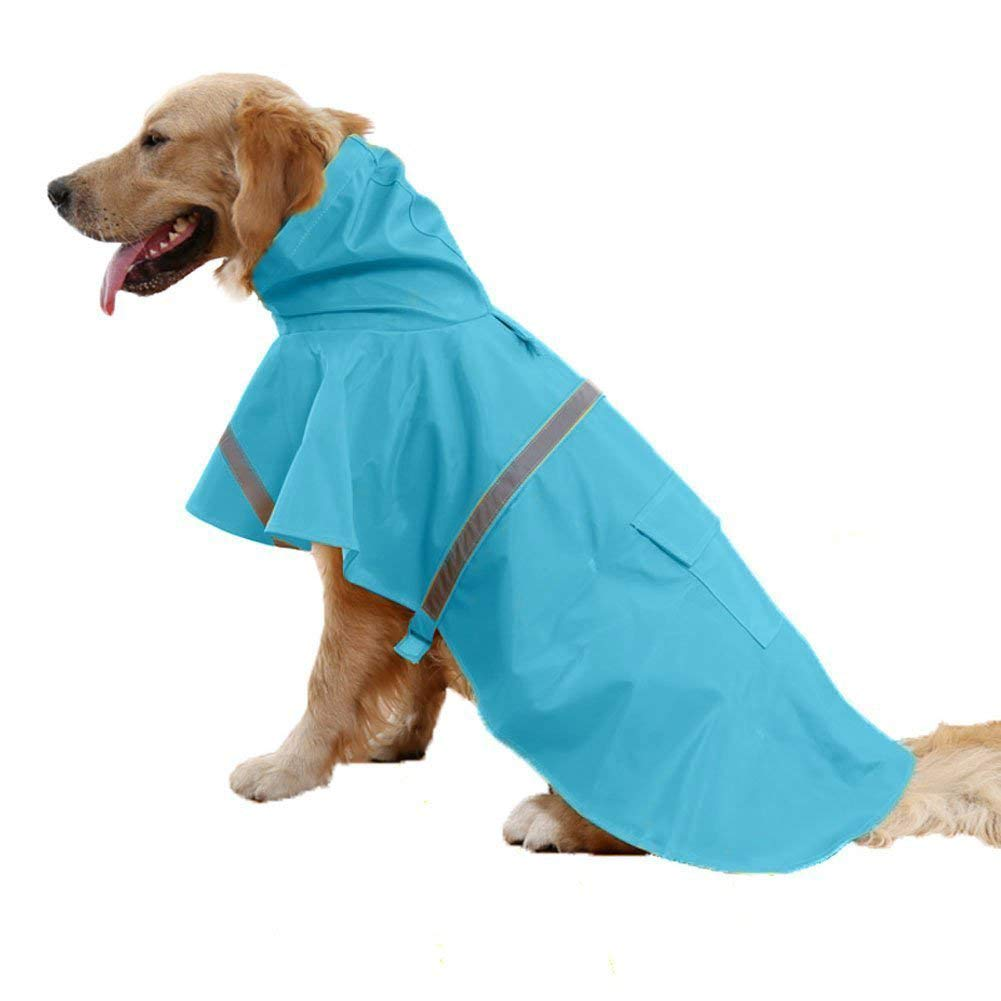 bluee XXL bluee XXL Dog Raincoat Pet Safety Coat Jacket With Reflective Strips,bluee,XXL
