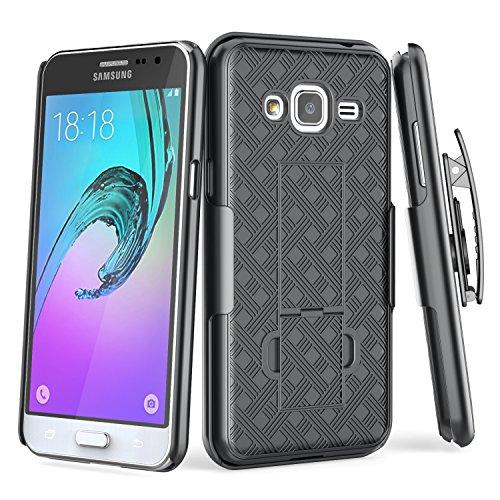 Galaxy Sky Case, TILL Galaxy Sol / J3 V [Thin Design] Holster Locking Belt Swivel Clip Non-slip Texture [Built-In Kickstand] Hard Case Combo Defender Cover For Galaxy Amp Prime/Express Prime [Black]