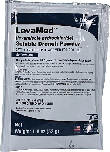 DURVET 698902 Levamed Soluble Drench Powder Dewormer White 52g