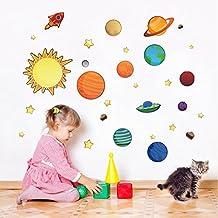 BIBITIME Space Universe Planet DIY Removable Art Mural Vinyl Waterproof Wall Stickers Kids Room Decor Nursery Decal Sticker Wallpaper