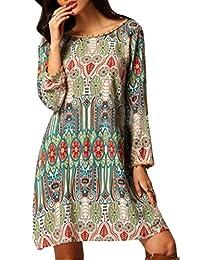 CFD Womens Boho V Neck Printed Ethnic Shift Tunic Dress