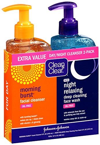 3 Pack - CLEAN & CLEAR Morning Burst&Night Relaxing Cleansing Face Wash Pack 1 ea Mangiacotti Mini Lip Repair 0.15 Oz. - Lemon Verbena