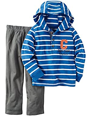 Carter's Baby Boys 2 Piece Playwear Sets, Blue Stripe/Charcoal Terry, 24M