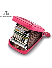 Leather Wallet Zipper RFID Credit Card Holder Protector ID Card Window Credit Card Wallet