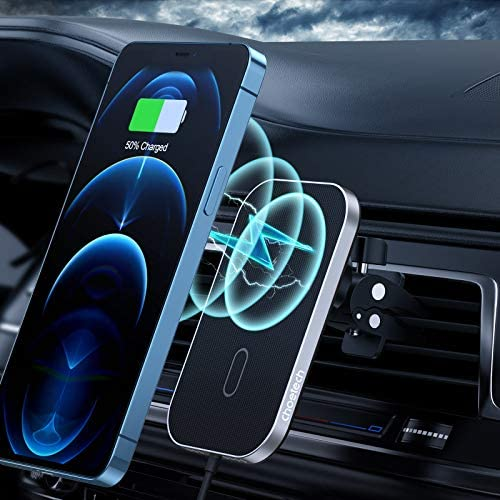 Magnetic Wireless Car Charger Compatible with iPhone 12/12 Pro/12 Mini/12 Pro Max, CHOETECH 360° Adjustable Auto-Alignment Air Vent Magnetic Phone Car Mount Holder Charger