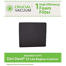 1 Dirt Devil Foam Filter, Fits EZ Lite Bagless Canister Vacuums, Compare to Part # 1KQ0106000, Designed & Engineered by Crucial Vacuum