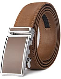 Men's Leather Ratchet Dress Belts with Automatic Buckle Gift Box