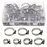 Hose Clamp,60 Pcs All Stainless Steel Adjustable 6-38mm Range Worm Gear Hose Clamp Assortment Kit