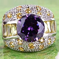 A.Yupha Exalted Jewelry Amethyst & Citrine Gemstone Silver Fashion Men Ring Size 10 Gift