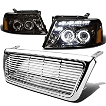 Ford F150/Lincoln Mark LT Pair of Halo Projector LED Smoke Lens Amber Corner Headlight+Chrome Front Grille