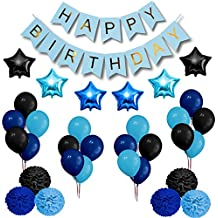 Party Decorations Set- Happy Birthday Decoration Banner and Balloons- Elegant Black, Blue and Light Blue Birthday Decorations Party Supplies- Easy Assembly Decorations Set for Birthday Parties
