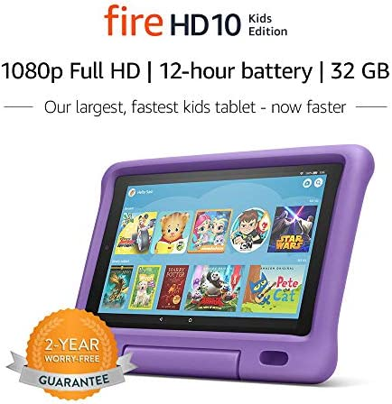 "Fire HD 10 Kids Edition Tablet – 10.1"" 1080p complete HD show, 32 GB, Purple Kid-Proof Case"