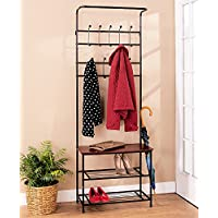 Siam Circus Hall Tree Coat Rack Bench Shelf Shoes Entryway Organizer Metal Wood Modern New