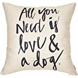 """Fjfz All You Need is Love and a Dog Lover Quote Cotton Linen Home Decorative Throw Pillow Case Cushion Cover for Sofa Couch, 18"""" x 18"""""""