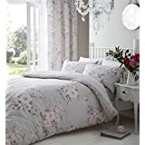 GREY PINK ROSE FLORAL COTTON BLEND CANADIAN QUEEN SIZE (230CM X 220CM - UK KING SIZE) REVERSIBLE COMFORTER COVER SET