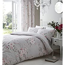 GREY PINK ROSE FLORAL COTTON BLEND CANADIAN FULL (200CM X 200CM - UK DOUBLE) REVERSIBLE COMFORTER COVER SET