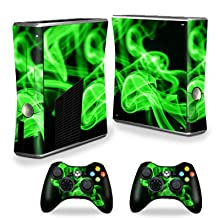 Mightyskins Protective Vinyl Skin Decal Cover for Xbox 360 S Slim + 2 controllers wrap sticker skins Green Flames