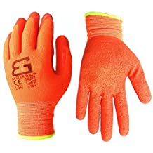 Better Grip Nylon Glove with Textured Latex Coating Gripping Gloves, Crinkle Finished, Large, 6 Pair, Fluorescent Orange