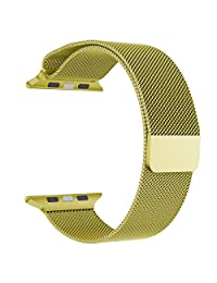 Apple Watch Band Series 1 Series 2, LNKOO Milanese Loop Stainless Steel Bracelet Smart Watch Replacement Strap for iWatch All Models with Unique Magnet Lock, No Buckle Needed (42MM/Champagne Gold)