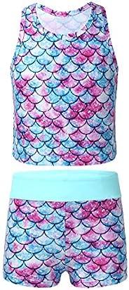 Freebily Baby Girls One Piece Long Sleeves Zipper Tshirt Mermaid Fish Scales Printed Swimsuit Rash Guard Bathi