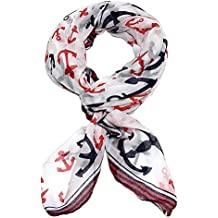 White Anchor Scarf with Classic Red and Navy Blue Trim