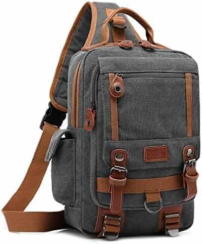 5ed50f997da4 DTBG 13 Inches Messenger Bag Sling Backpack Canvas Shoulder Bag Waterproof Chest  Pack Outdoor Cross Body