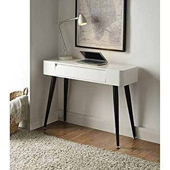 4D Concepts & White Console Desk with Drawer