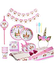 Unicorn party supplies and decorations set 176 piece for birthday party-Serves 16 guests-birthday bunting,straws,blowouts whistles,Unicorn headband,pink satin sash for girls