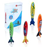 Edealing 4PCS Underwater Torpedo Rocket Swimming Pool Toy Swim Dive Sticks Holiday Games
