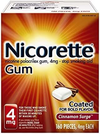 Nicorette Nicotine Gum to Quit Smoking, 4 mg, Cinnamon Surge Flavored Stop Smoking Aid, 160 Count