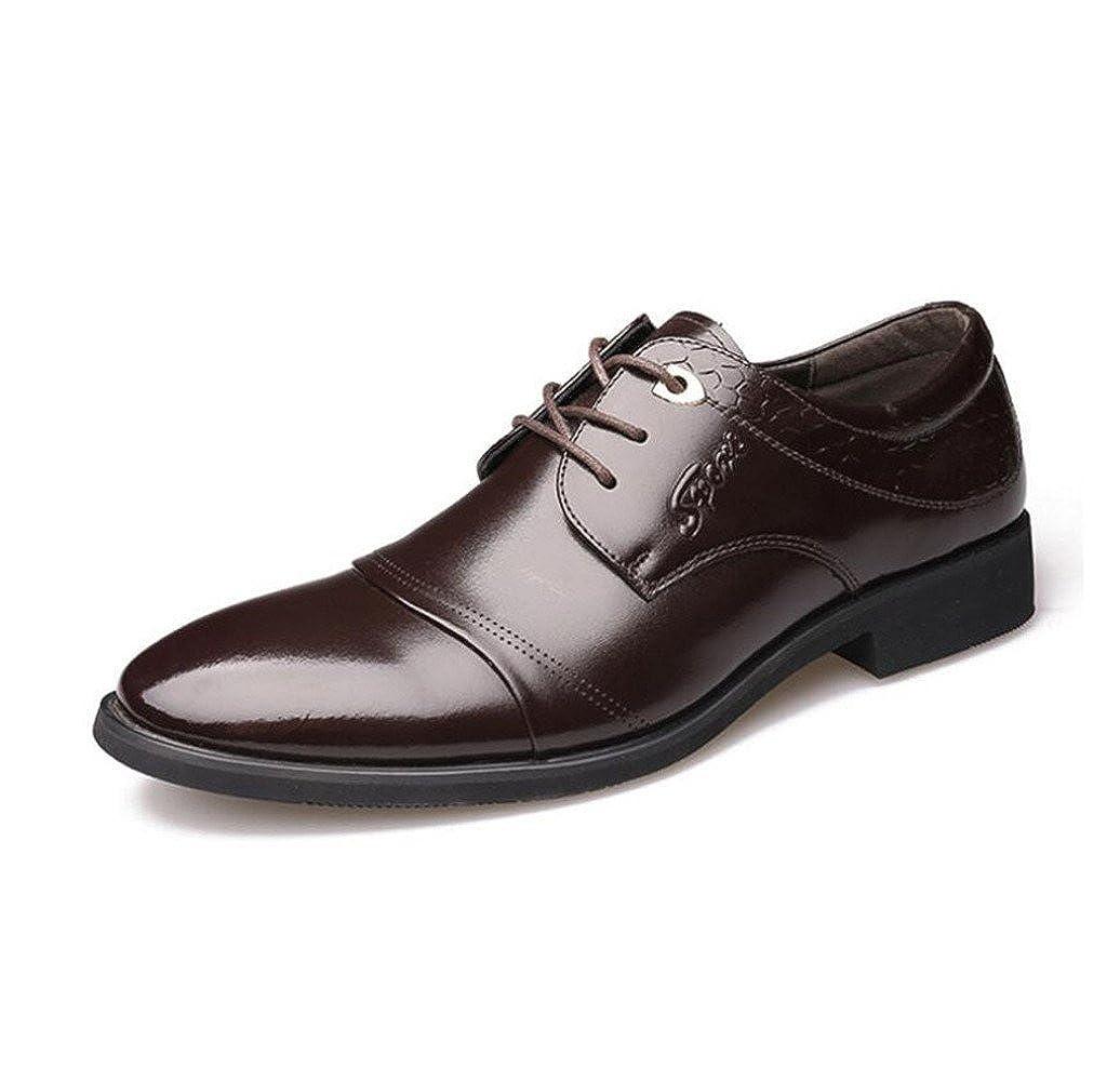 LEDLFIE Mode Herren Echtleder Schuhe Business Formelle Kleidung Mode LEDLFIE Lace-up Schuhe Herrenschuhe Braun a2e739