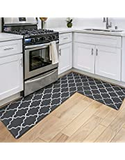 """DEXI Kitchen Rugs Set 2 Piece,Non-Slip Waterproof Kitchen Mat,Anti Fatigue Comfort Floor Mat, Easy Clean Kitchen Floor Mats,17"""" x 29""""+17"""" x 59"""",Charoal"""