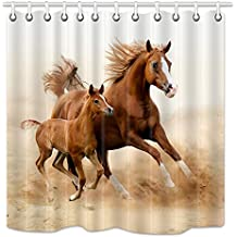 NYMB Animlas Shower Curtain Country Decor, Horses and Kids Run in Fields Farm, Mildew Resistant Fabric Bathroom Decorations, Bath Curtains Hooks in cluded, 69X70 Inches, Brown