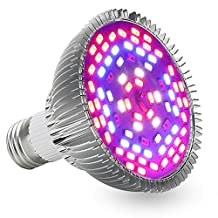 LLvjing Full Spectrum 12W Led Grow Light Bulb, E27 Base, 78pcs 5730smd, 42 Red + 18 Blue + 6 IR + 6 UV + 6 White Light, AC 85~265V, for Indoor Plants Garden Greenhouse Hydroponic System Lighting