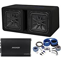 Kicker 44DL7S122 Dual 12 3000w Solo-Baric L7S Loaded Sub Enclosure+Rockford Amp