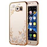 Samsung Galaxy S7 Gel Case, KrygerShield® - Super Slim Clear TPU Cover, White Flower & Diamond Encrusted Pattern - Rose Gold