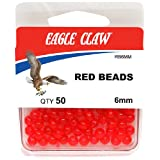 Eagle Claw 6mm Red Beads, 50-Pack, Red