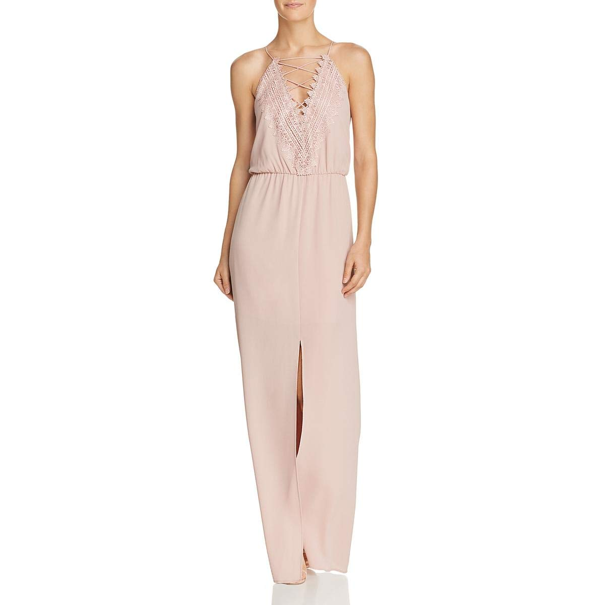 Pink Adobe WAYF Womens Posie Crepe Lace Inset Maxi Dress