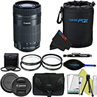 Canon EF-S 55-250mm f/4-5.6 IS STM Lens for Canon SLR Cameras + Pixi-Advanced Accessory Bundle