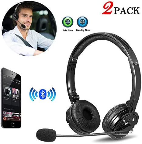 2 Pack Bluetooth Headphones with Microphone LUXMO Wi-fi Bluetooth Headset [Noise Cancelling & Listen to Music] with Mic Automobile Telephone Headset for iPhone Android Workplace Name Middle Skype Truck Driver