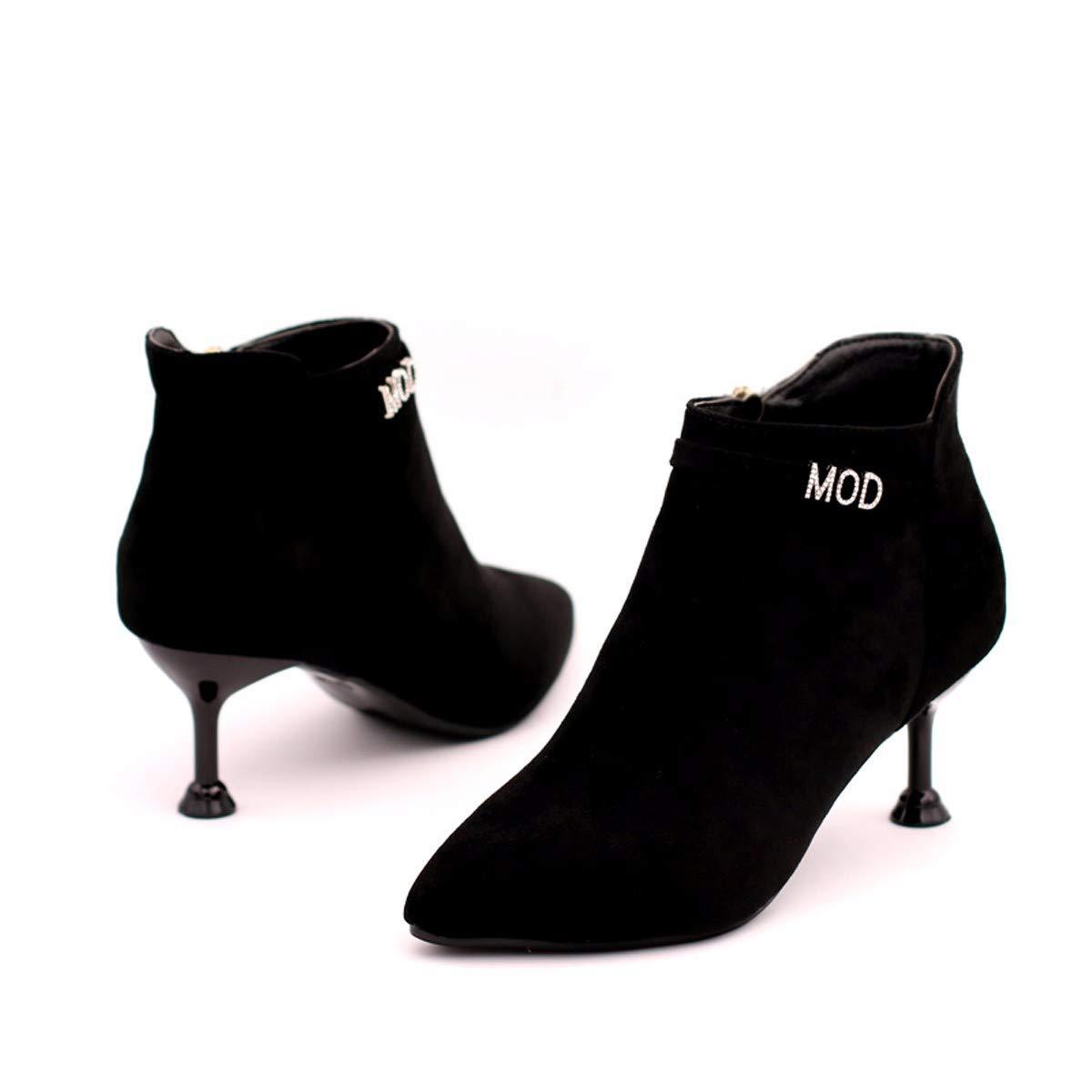 Olici Damen Stiefel Arbeits-   Freizeitstiefel mit hohem 5 cm mittlerem Absatz dünnem Absatz aus Wildleder mit Katzenabsatz