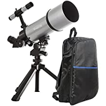 Silver TwinStar AstroMark 80mm 16-40x Power Portable Refractor Telescope - Backpack Bundle